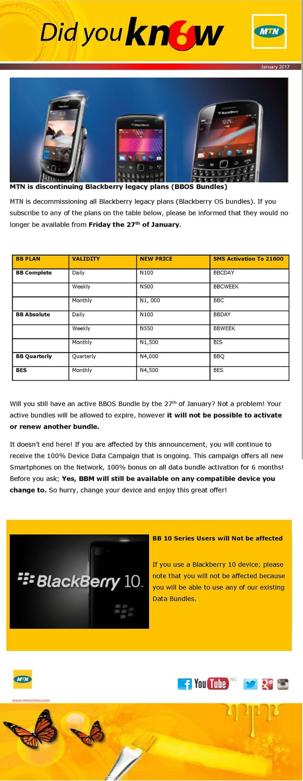 Photo of MTN to ends BBOS bundles from tomorrow 27th, BB10 bundles not affected