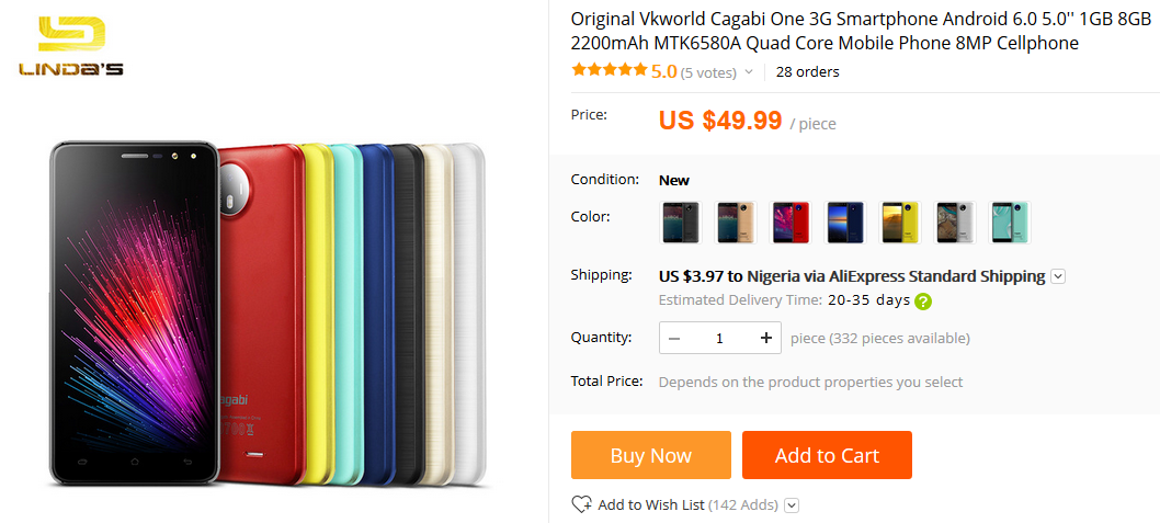 Photo of Limited Offer: Cagabi One smartphone go for just $49.99 (N18,746)