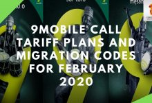 Photo of 9Mobile Call Tariff Plans And Migration Codes For February 2020