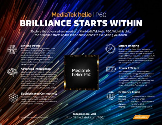 Photo of MediaTek unveils new Helio P60 chipset with Cortex-A73 and Support for AI