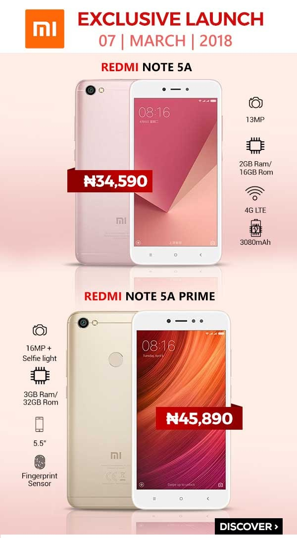 Photo of Xiaomi to launch Redmi 5, Note 5A, 5A Prime, and 5 Plus in Nigeria exclusively on Jumia