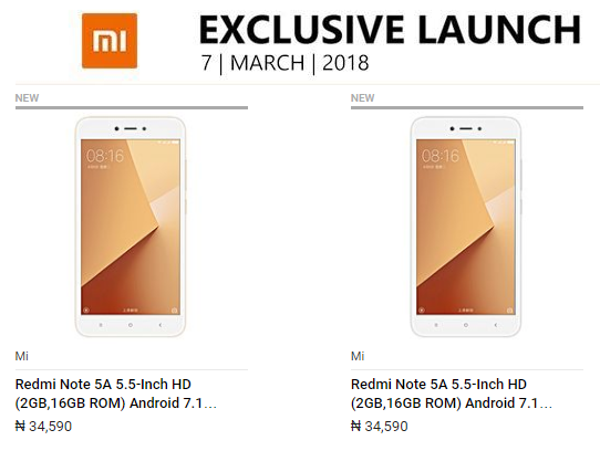Photo of Deal: Buy Redmi Note 5A with Snapdragon 425 And 2GB RAM For N34,590