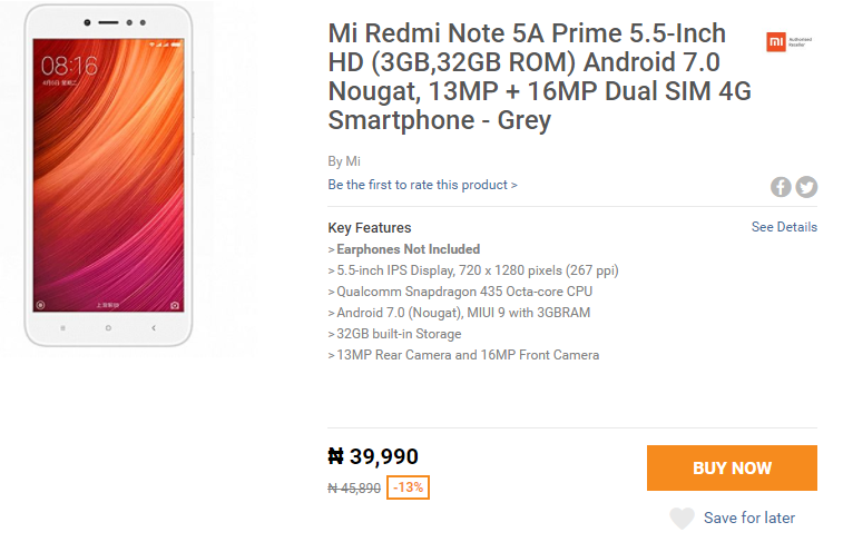 Photo of Flash Sale: Buy Redmi Note 5A Prime with Snapdragon 435 And 3GB RAM For N39,990