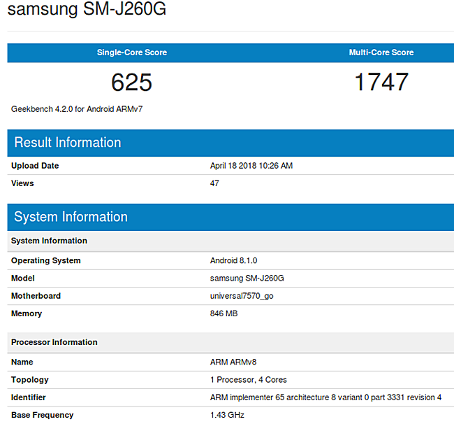 Photo of Samsung model SM-J260G to be the company's first Android Go Smartphone Edition