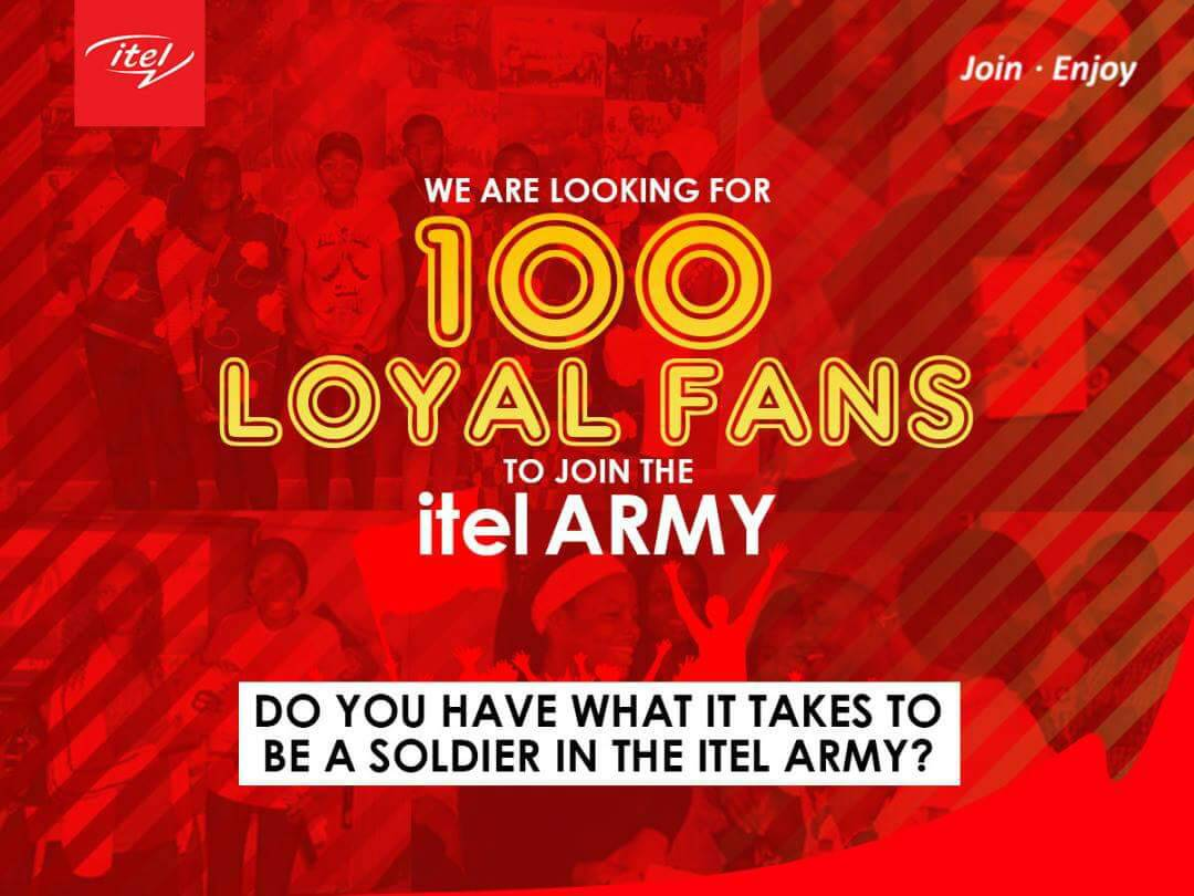 Photo of Be Among 100 Loyal Fans To Join Itel Army