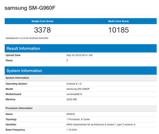 Photo of Samsung Galaxy S9 running Android 8.1(Oreo) appears on Benchmarks