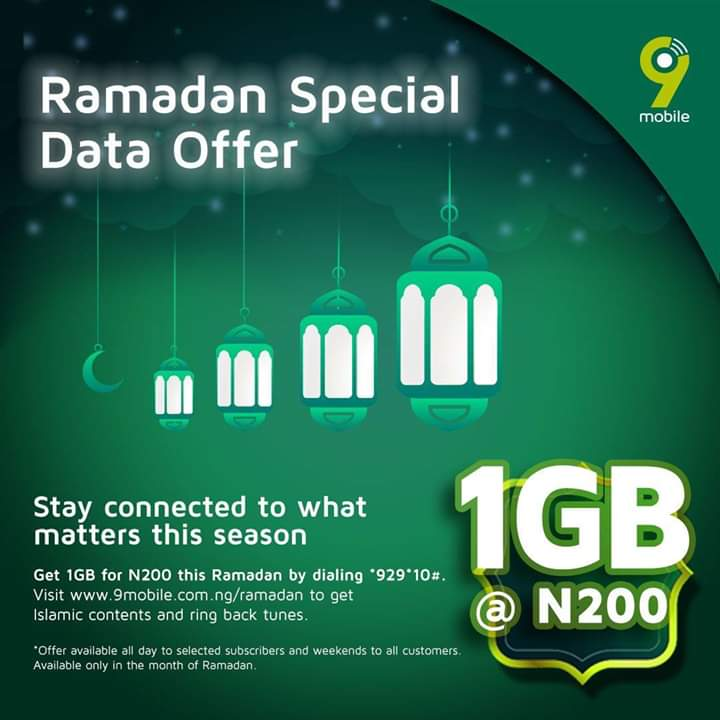 Photo of 9mobile Ramadan Special Data; N200 For 1GB, How To Subscribe