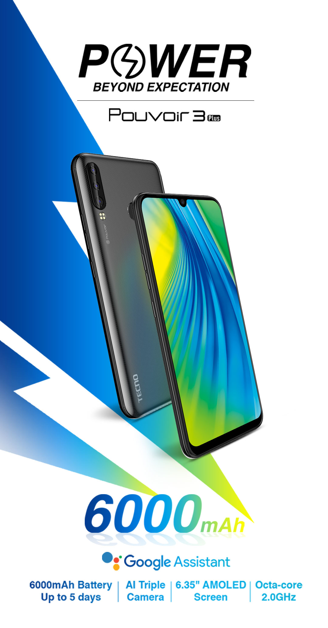 Photo of Tecno Pouvoir 3 Plus with Triple rear cameras, 6000mAh battery launched