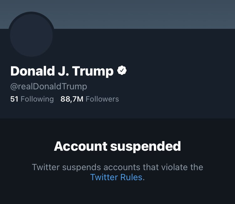President Donald Trump banned permanently on Twitter